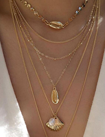 Fashion Gold Sequined Shell Pearl Multi-layer Necklace