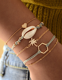 Fashion Gold Natural Shell Woven Coco Polygonal Love Bracelet Set Of 5