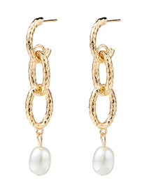 Fashion Gold Alloy Chain Pearl Earrings