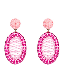 Fashion Rose Red Lafite Cotton Rope Woven Mesh Oval Earrings