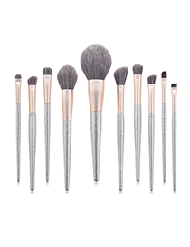 Fashion Silver 10 Sticks Silver Lisa Makeup Brush