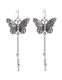 Fashion Silver Butterfly And Diamond Earrings
