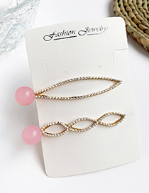 Fashion Pink Alloy Resin Bead Hair Clip Two-piece