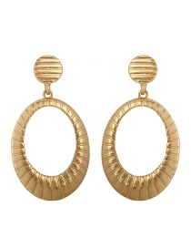Fashion Gold Texture Alloy Oval Earrings