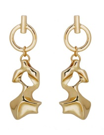 Fashion Gold Metal Irregular Glossy Earrings