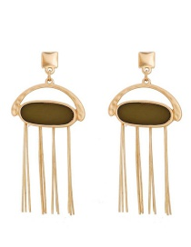 Fashion Gold Fringed Geometric Resin Earrings
