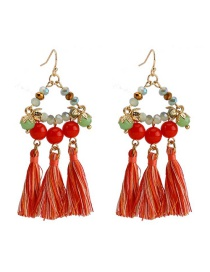 Fashion Red Line Ear Tassel Acrylic Beads Glass Beads Earrings