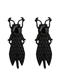 Fashion Black Painted Flying Insect Earrings