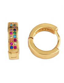 Fashion Gold Earring Double Row Crown Diamond Earrings