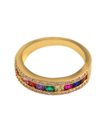 Fashion Gold Diamond-plated 18k Gold Geometric Zircon Ring