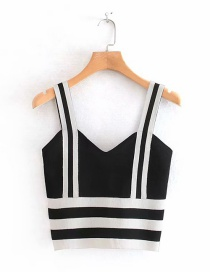 Fashion Black Contrast Stripes Stitching Knit Small Sling
