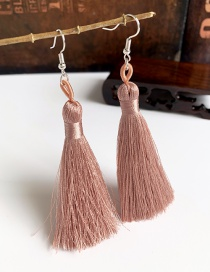 Fashion Leather Pink Alloy Tassel Earrings