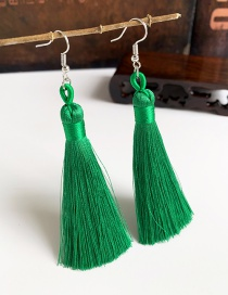 Fashion Green Alloy Tassel Earrings