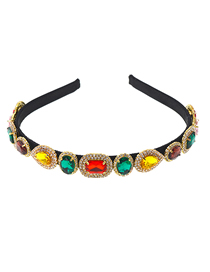 Fashion Color Large Gemstone Crystal Rhinestone Hair Band