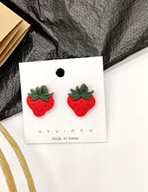 Fashion Strawberry Red 925 Silver Needle Fruit And Vegetable Earrings