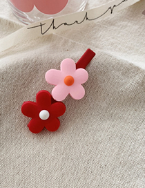 Fashion [two Flowers] Red Powder Contrast Flower Hair Clip