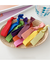 Fashion Color-10 Pieces Knotted Wide-neck Rubber Band