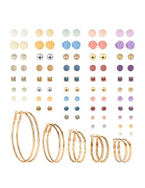 Fashion Color Copper Inlaid Resin Earrings Set (50 Pairs)
