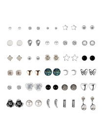 Fashion Color Sun And Moon Star Alloy Stud Earring Set (30 Pairs)