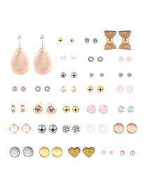 Fashion Color Love Collar With Gold Earrings Set (30 Pairs)