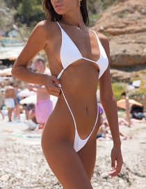 Fashion White Open Back Solid Color Triangle Package One-piece Swimsuit