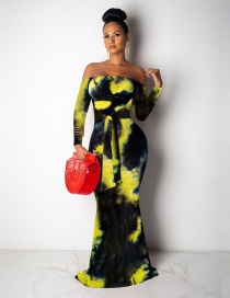 Fashion Yellow Off-the-shoulder Contrast Tie-dyed Fishtail Dress