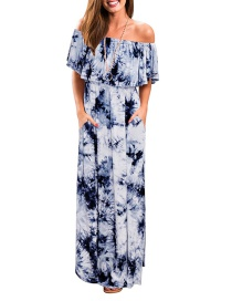 Fashion Blue Ruffled One-shoulder Tie-dyed Slit Pocket Dress