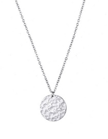 Fashion Steel Color Geometric Hammered Stainless Steel Necklace