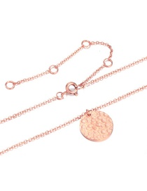 Fashion Rose Gold Geometric Hammered Stainless Steel Necklace