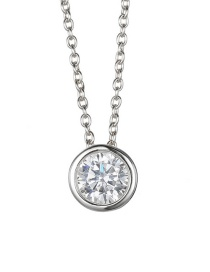 Fashion Steel Color Single Zircon Stainless Steel Necklace