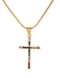 Fashion Gold Copper Inlay Zircon Cross Necklace