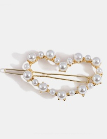 Gold Heart-shaped Pearl Alloy Hairpin
