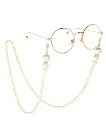 White Pearl Glasses Hanging Chain Necklace