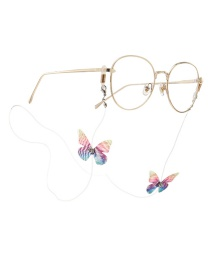 Transparent White Lace Butterfly With Diamond Transparent Elastic Eyewear Chain