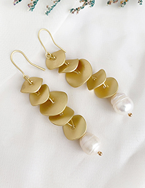 Gold Alloy Sequin Pearl Earrings