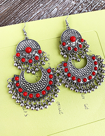 Red Alloy Resin Tassel Earrings