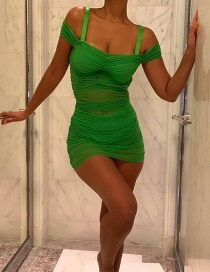 Fashion Green One-neck Collar Mesh Gauze Dress