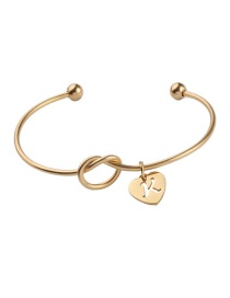 Fashion Gold Stainless Steel Love Knotted Open Bracelet (letter Optional)