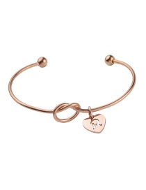 Fashion Rose Gold Stainless Steel Love Knotted Open Bracelet (letter Optional)