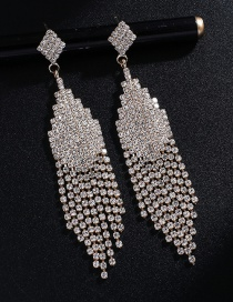 Fashion Gold + White Diamond Fringed Full Diamond Earrings