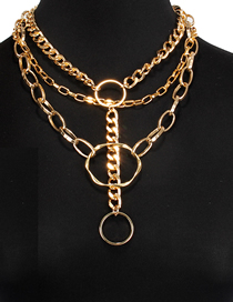 Fashion Gold Multi-layer Chain Circle Alloy Necklace