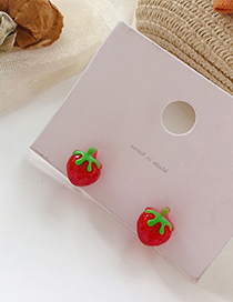 Fashion Red 925 Silver Needle Strawberry Acrylic Earrings