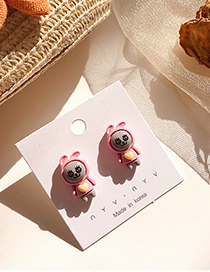 Fashion Pink 925 Silver Pin Cartoon Earrings