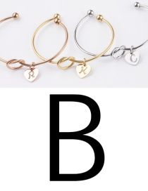 Fashion Steel B Stainless Steel Love Knotted English Letter Open Bracelet