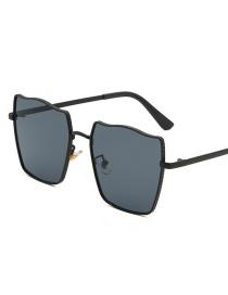 Black Frame Black Gray Piece Square Metal Gradient Sunglasses