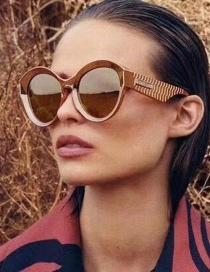 Tea Box Through Tea Rice Nail Large Frame Gradient Sunglasses