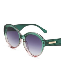Gradient Gray On The Green Under The Powder Frame Rice Nail Large Frame Gradient Sunglasses