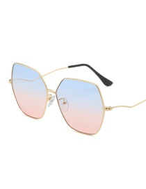 Gold Frame Gradient Blue Powder Polygonal Oversized Box Sunglasses