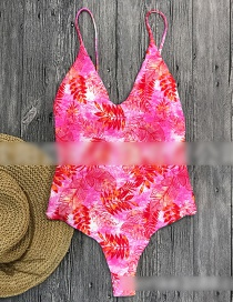 Pink Flower Printed Straps Openwork Backless One-piece Swimsuit