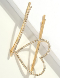 Fashion Gold Two-piece Alloy Diamond Love Hairpin